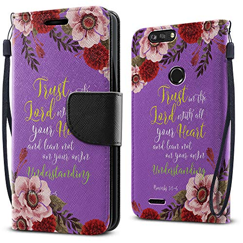 FINCIBO Case Compatible with ZTE Blade Z Max Z982/ Sequoia, Fashionable Flap Wallet Pouch Cover Case + Card Holder Kickstand for Blade Z Max Z982 - Christian Bible Proverbs 3:5-6