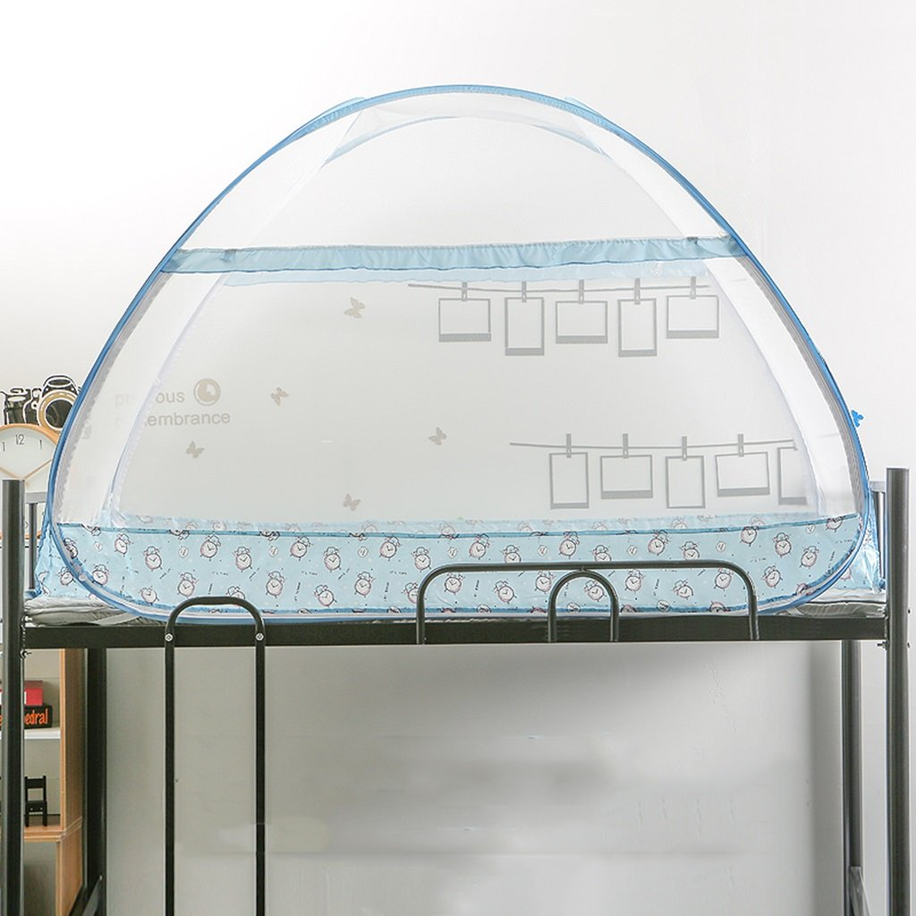 MZ Keine Notwendigkeit, Moskitonetze, Studentenwohnheim Bett 0,9 / 1m Einzelbett Jurte Typ Moskitonetz zu installieren (Farbe : Blau, größe : Wide 0.9Long 1.95High 1.0)