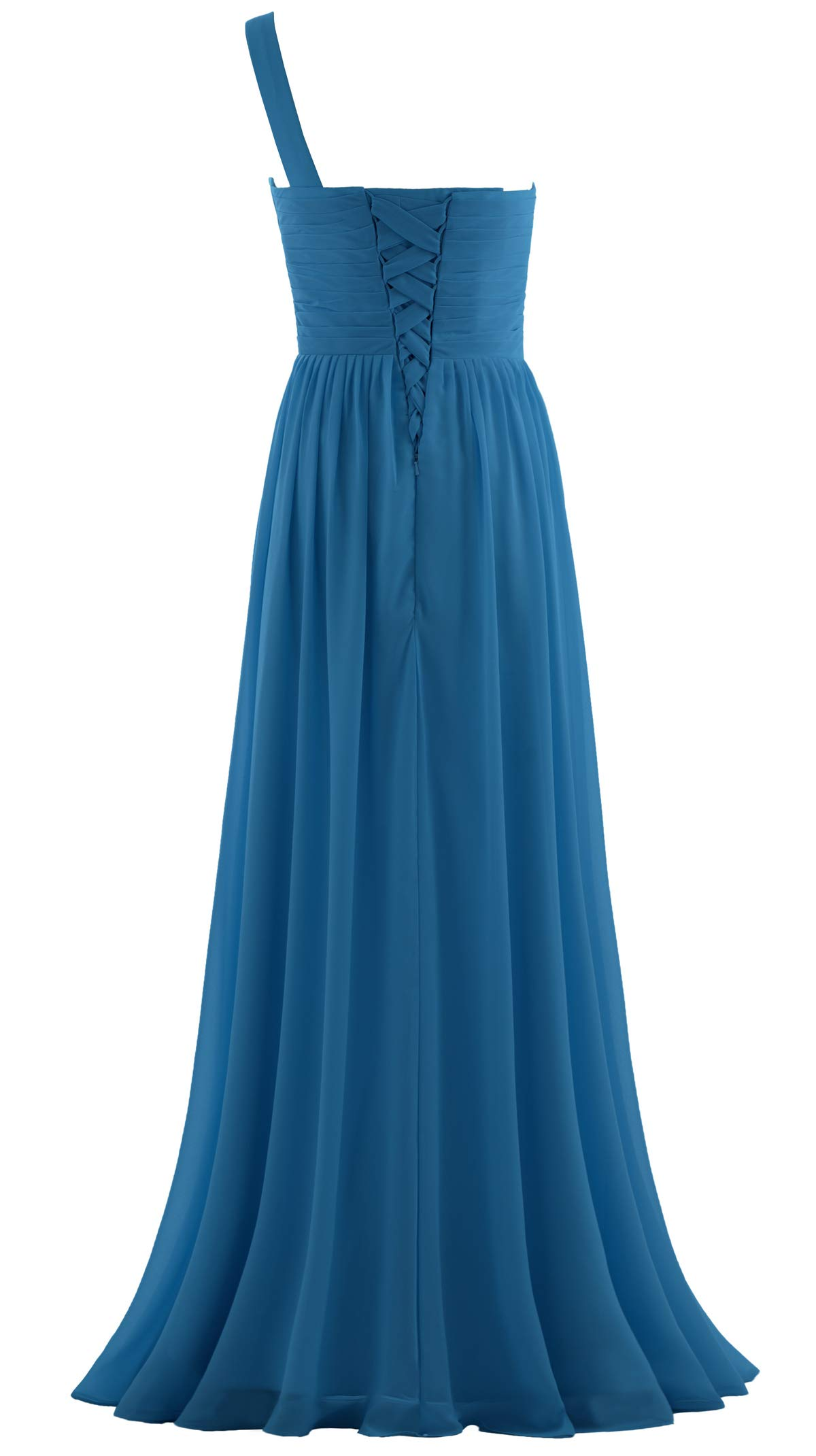 ANTS Womens Pleat Chiffon One Shoulder Bridesmaid Dresses Long Evening Gown