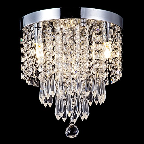 ZEEFO Crystal Chandeliers, Modern Pendant Flush Mount Ceiling Light Fixtures, 3 Lights, H10.2 W9.8 Inches, Contemporary Elegant Design Style Suitable for Hallway, Living Room, Dining Room (Sparkly Light Fixture)
