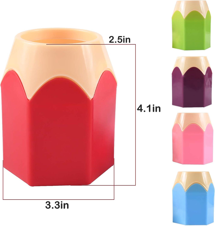 organizzatori 1 Set 5 color Portapenne Creativo a Forma Punta di Matita assortiti penna matita vaso porta pennelli trucco cancelleria per scrivania Plastica Removibile Portapenne Creativo