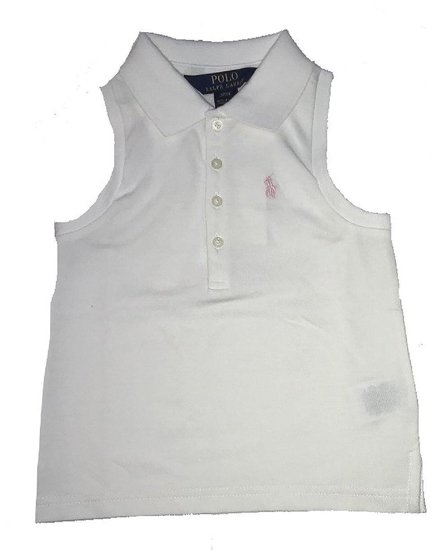 RALPH LAUREN Polo Little Girls Stretch Mesh Sleeveless Polo Shirt (White, Size 3T)