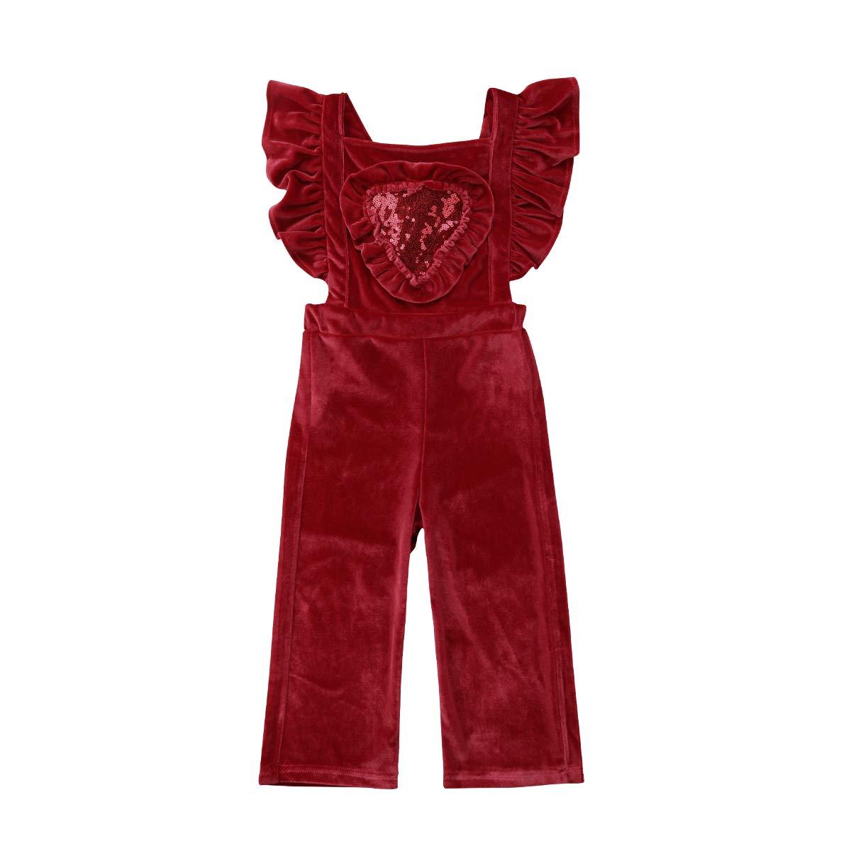 Toddler Baby Girl Loose Crushed Velvet Bib Overall Flares Bell Bottom Pants