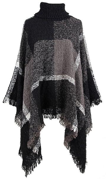 b1689cb5dbdbe QZUnique Women Turtleneck Poncho Sweater Knit Cape Pullover Shawl Tassels  Plaid Black