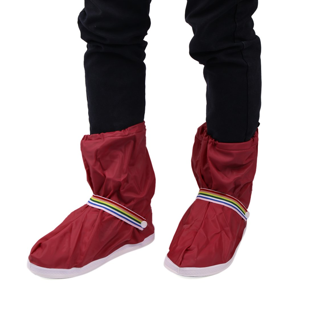 uxcell 1Pair Wine Red Motorcycle Non-Slip Waterproof Adjustable Rain Shoes Boot Cover L