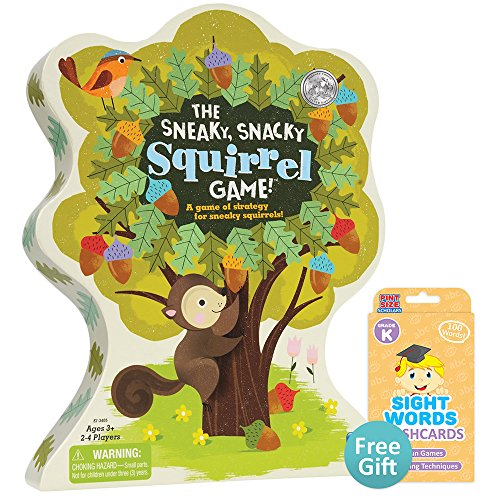 The Sneaky, Snacky Squirrel Game with Your Choice of Free Educational Flashcards, Kindergarten