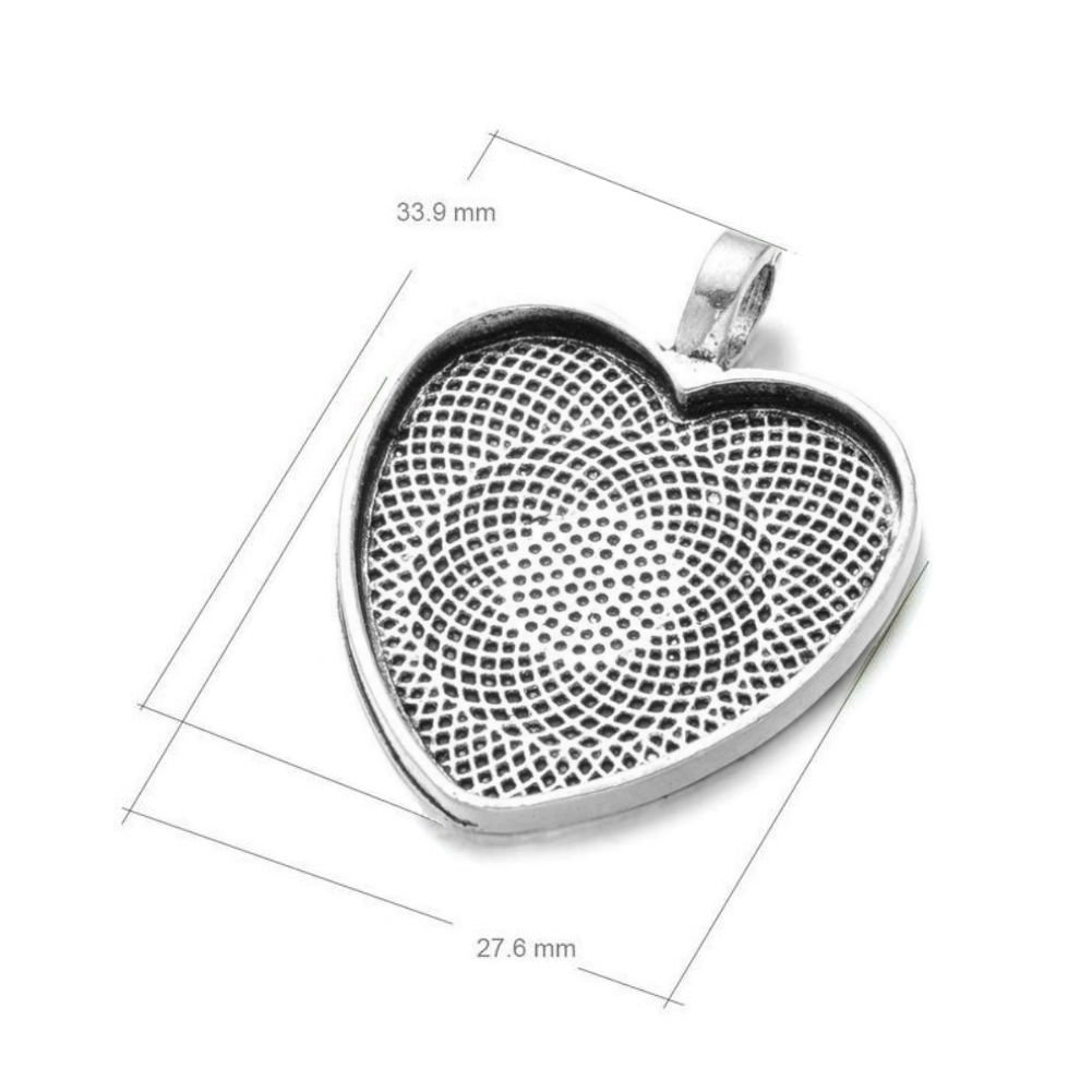 4 x Antique silver heart cabochon setting pendants fits 25mm