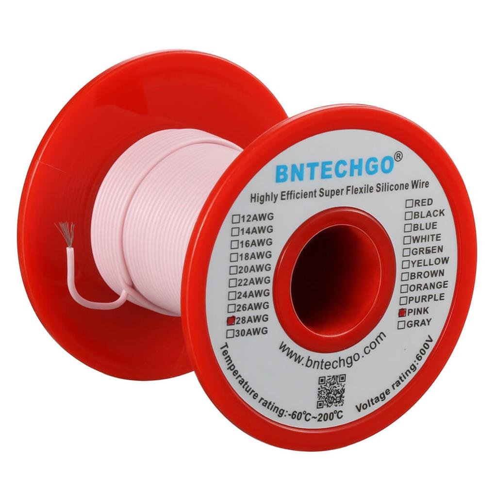 BNTECHGO 28 Gauge Silicone Wire Spool Gray 50 feet Ultra Flexible High Temp 200 deg C 600V 28 AWG Silicone Rubber Wire 16 Strands of Tinned Copper Wire Stranded Wire for Model Battery Low Impedance bntechgo.com