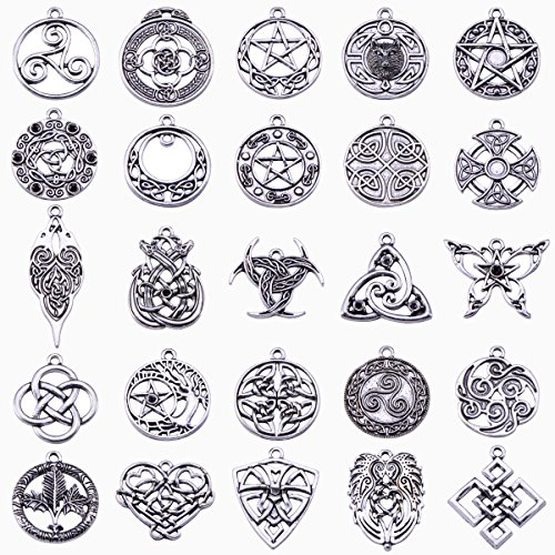 c Cross Charms for DIY Necklace Pendants Making Pack of 25 (Design Pewter Bookmark)