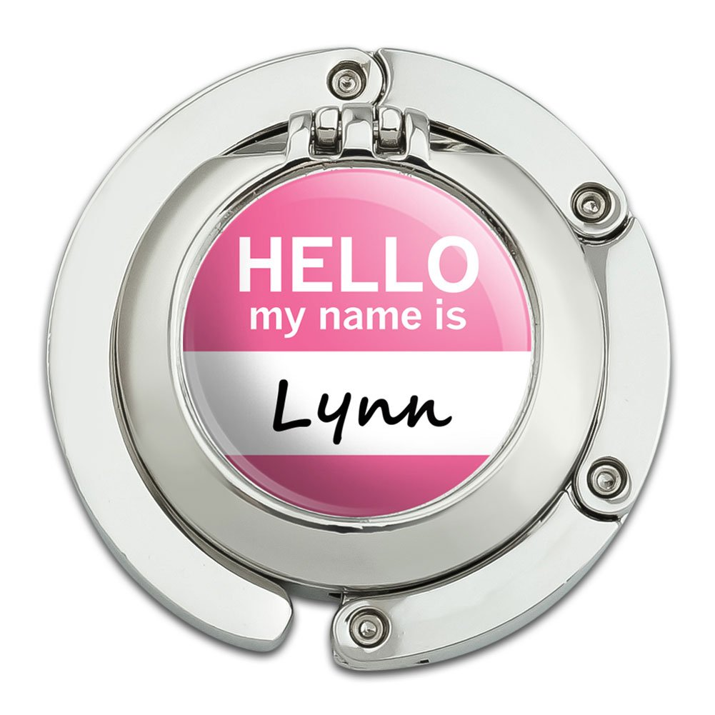 Lynn Hello My Name Is Foldable Table Bag Purse Caddy Handbag Hanger Holder Hook with Folding Compact Mirror