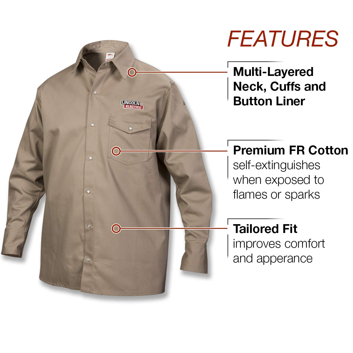Lincoln Electric Welding Shirt | Premium Flame Resistant (FR) Cotton | Custom Fit | Khaki / Tan | 2XL | K3382-2XL by Lincoln Electric (Image #2)