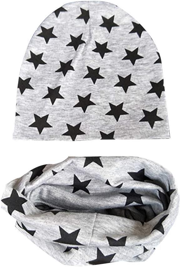 heacker Baby Hat Scarf Set Boys Girls Toddlers Scarf Hats Star Pattern Spring Summer Cotton Beanie Cap