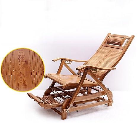 Amazon.com: ZR - Silla de balcón plegable de bambú, silla de ...