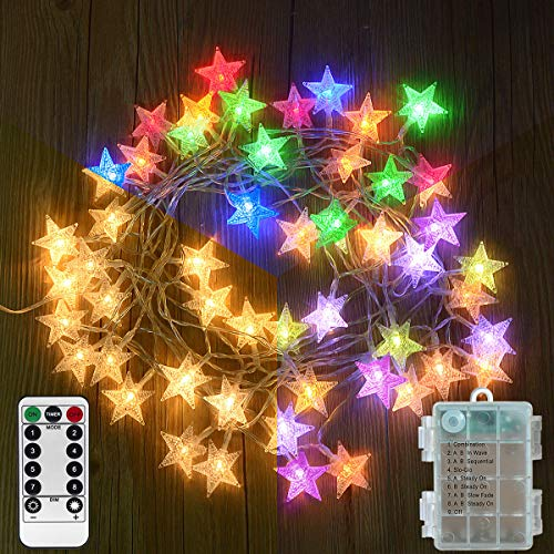Homeleo 25.7 Ft 50 Led Color Changing String Lights, Battery Powered Star Fairy Lights with Timer...