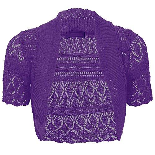 - Thever Women Short Sleeve Knitted Crochet Shrug Bolero Cardigan Ladies Crop Top (3XL(24-26), Purple)