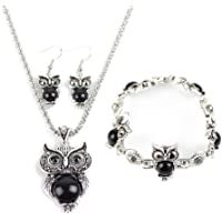 6b5802dbc6 Hosaire Owl Jewelry Sets Retro National Style Owl Turquoise Accessories (Bracelet  Necklace Earrings)