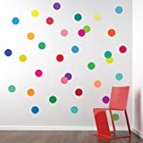 36 Confetti Rainbow Colors Polka Dots Wall Decals Stickers Repositionable Peel and Stick