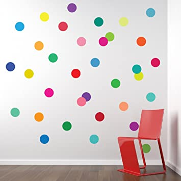 36 Confetti Rainbow Colors Polka Dots Wall Decals Stickers Repositionable  Peel And Stick Part 14
