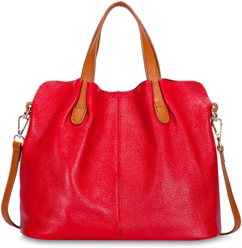 SJJOZZ Bolso for Mujer del - Genuino Cuero Suave graneado Bolsa - Bolso Mediano tamaño Hace con el 100% Piel - con Estilo y Elegante - Bolso Superior Calidad de Las Mujeres (Color : Red)