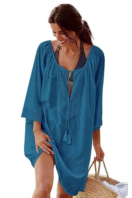 5a3eecfdb Landove Vestido de Playa Encaje V-Cuello Traje Ropa de Baño para Mujeres  Camiseta Manga Murcielago Boho Hippie Camisolas y Pareos Bikini Cover Up ...