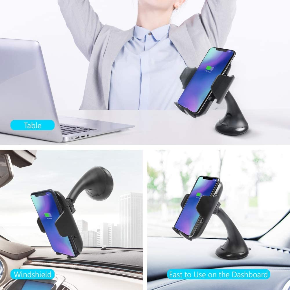 5W Auto Clamping Phone Holder for Dashboard Windshield Compatible with iPhone Xs Max//XS//XR//8 Plus Samsung Galaxy S10//S9//S8//S7 Edge//Note5 /& Other Qi Smartphone Vech Wireless Car Charger Mount