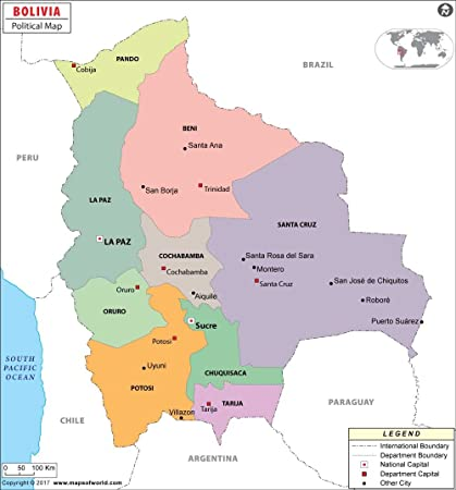 Mapa político de Bolivia – LAMINADO (36