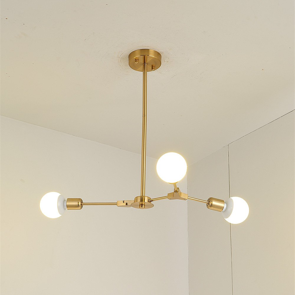 BOKT Mid Century Modern 3-Light Chandeliers Multi-Adjustable Chandelier Lighting Golden Sputnik Kitchen Island Lighting E26/E27 Bulb Sockets