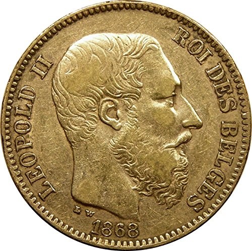 1867-1882 Belgium 20 Francs Gold Coin, King Leopold II, Extremely Fine Condition