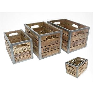 Juego 3 Cajas Antigua Madera y Metal Ney York G:34X23.5X20-P:25X16X16C: Amazon.es: Hogar
