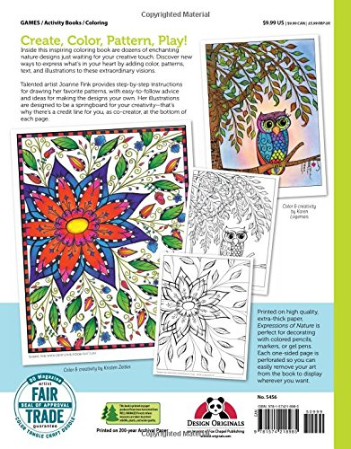Expressions Of Nature Coloring Book Create Color Pattern Play