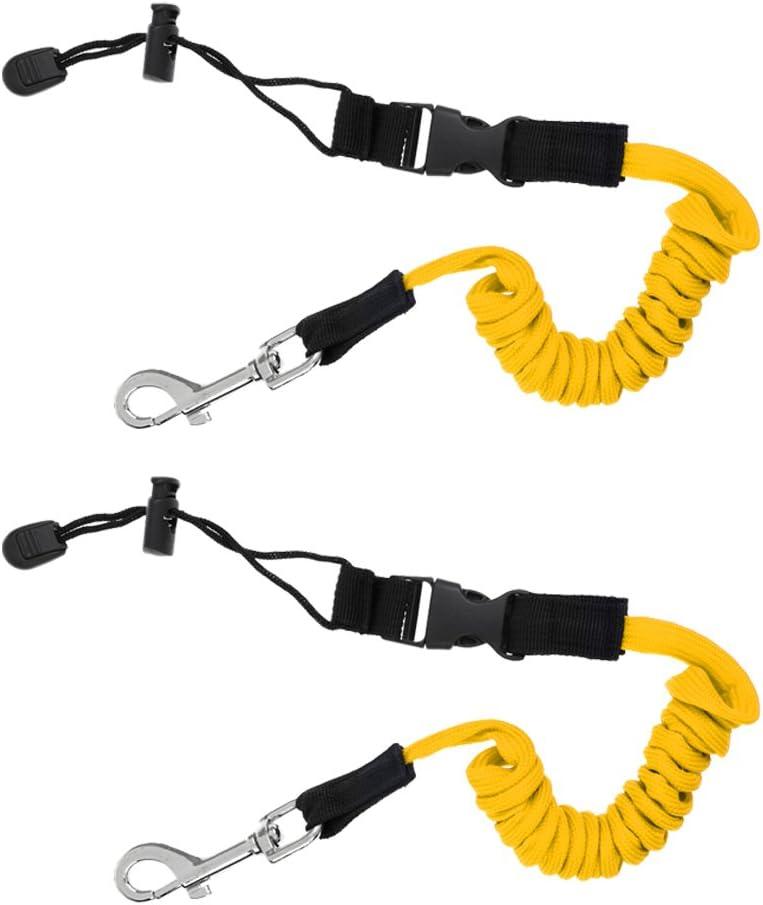 2X Cuerda de Seguridad Enrollada para Kayak Palas Remos Pesca Caña Color Amarillo