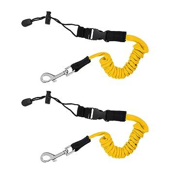 Sharplace 2X Cuerda de Seguridad Enrollada para Kayak Palas Remos Pesca Caña Color Amarillo: Amazon.es: Deportes y aire libre