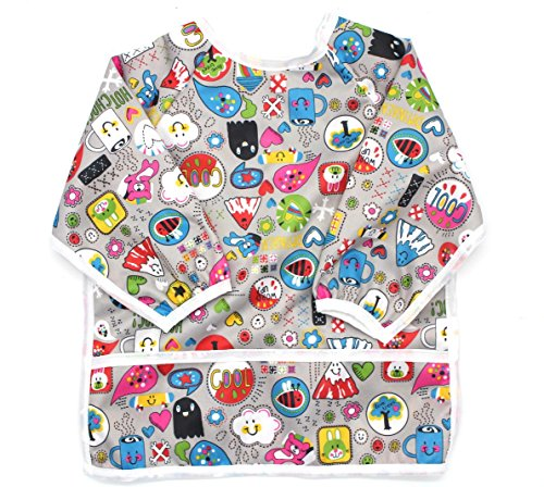 Waterproof sleeved bib lightweight full body coverage long sleeve bibs best design easy wear with pocket, for infant, toddler, baby 6-24 months must have items Happiness