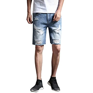 scarpe sportive e8475 5e4e2 Zhhlaixing Pantaloncini Jeans Uomo Denim Breve Sportivi ...