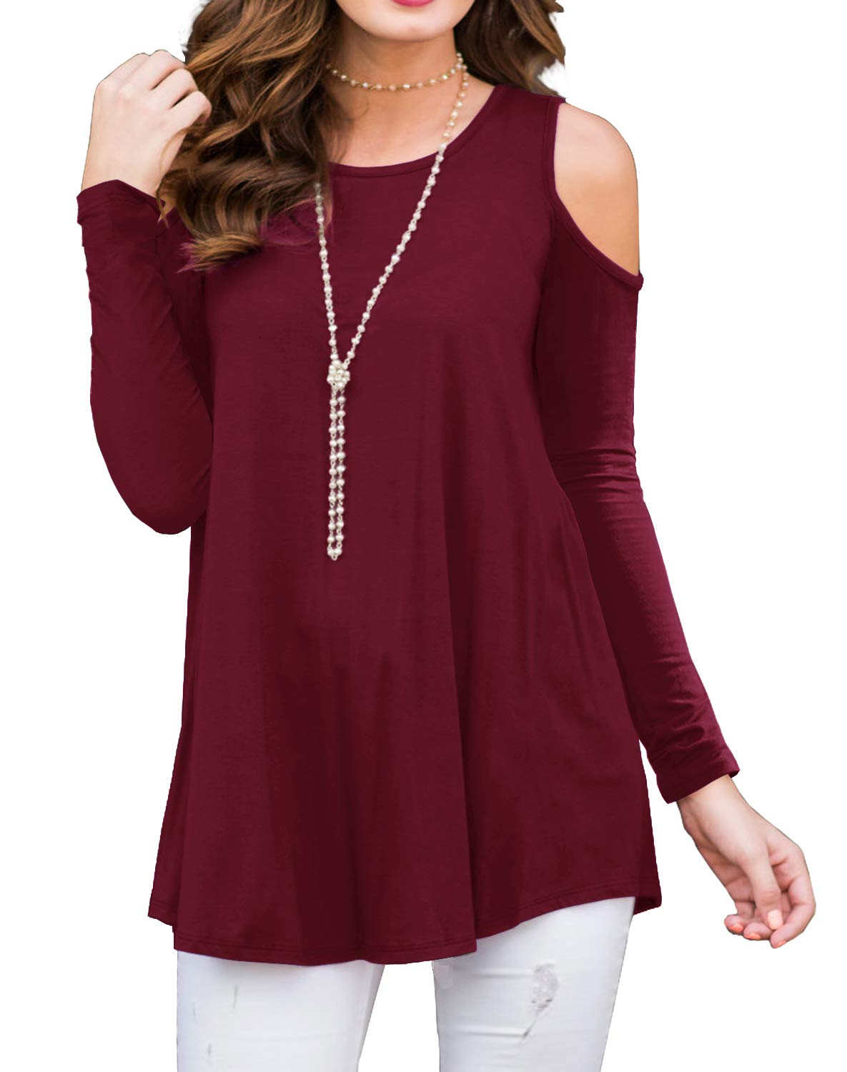 PrinStory Womens Long Sleeve Off Shoulder Round Neck Casual Loose Top Blouse T-Shirt Wine Red-S