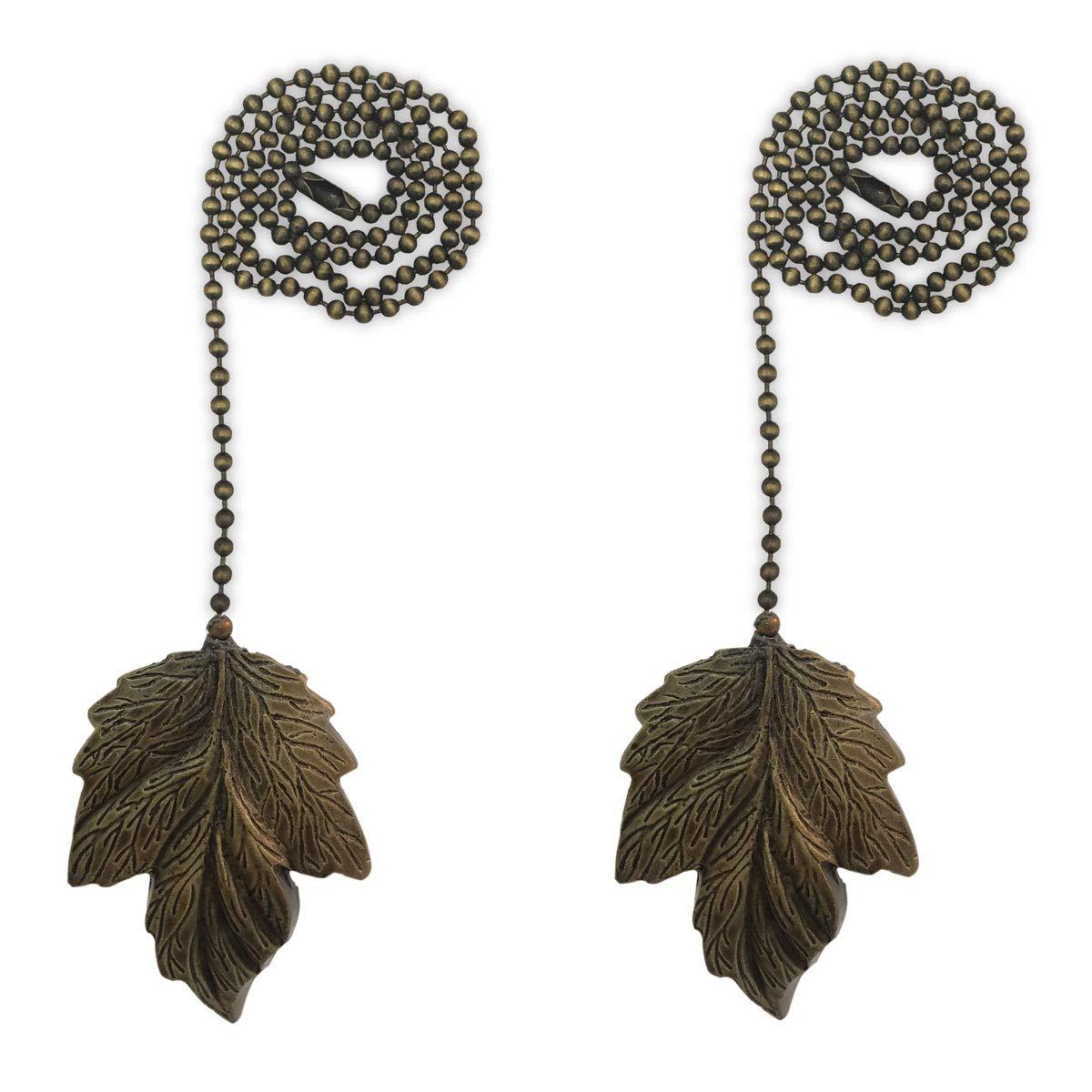 Royal Designs FP-1006AB-2 Leaf Design Fan Pull Chain, Antique Brass, Set of 2 by Royal Designs, Inc