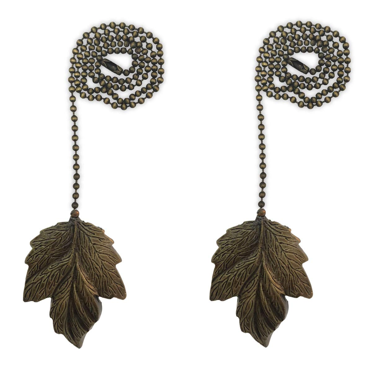 Royal Designs FP-1006AB-2 Leaf Design Fan Pull Chain, Antique Brass, Set of 2