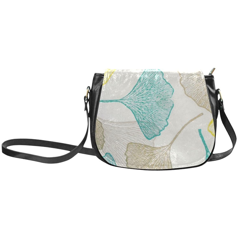 meincare Women's Ginkgo Biloba Leaf PU Leather Classic Saddle Bag