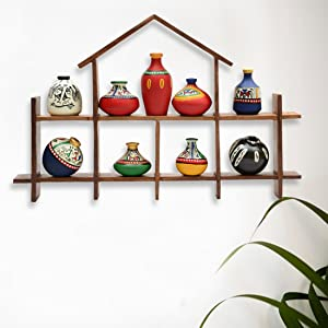 ExclusiveLane 9 Terracotta Warli Handpainted Pots with Sheesham Wooden Hut Frame Wall Hanging - Wall Shelves for Bedroom Corner for Living Room Terracotta Pots Wall Hanging Shelf Indian Home Décor