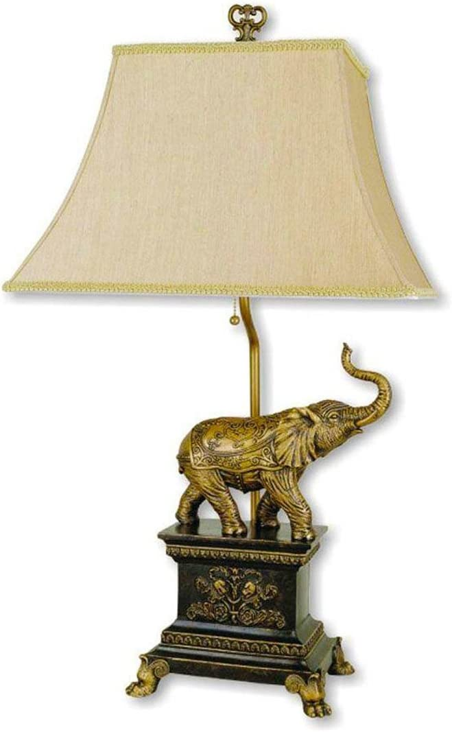 Hongville HV TLAMP 8203 Painted Elephant Base Decoration with Beige Fabric Shade Table Lamp, Gold and Black