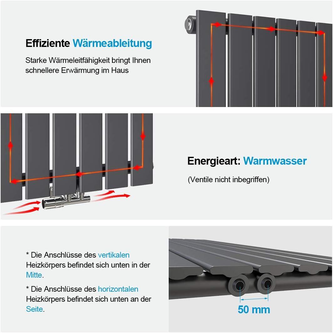 Anthrazit Design-Heizk/örper 630x1000mm Vertikal Panelheizk/örper Seitenanschluss Flach Doppellagig Heizung
