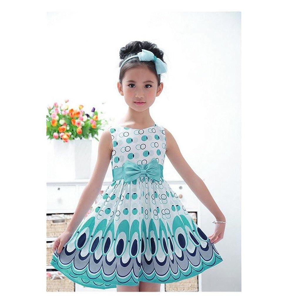 Girls Kids Bow Sleeveless Bubble Party Peacock Dress JPOQW Baby Girl Dress