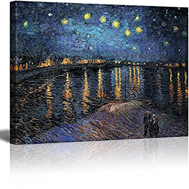 Wall26 Canvas Print Wall Art - Starry Night over The Rhone by Vincent Van Gogh Reproduction on Canvas Stretched Gallery Wrap. Ready to Hang - 24 x32