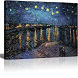 Wall26 Canvas Print Wall Art – Starry Night over The Rhone by Vincent Van Gogh Reproduction on Canvas Stretched Gallery Wrap. Ready to Hang – 18″x24″ Picture
