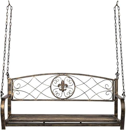 SSLine Heavy Duty Porch Swing Outdoor Metal Hanging Swing Bench Patio Garden 2-Person Swing Chair Seat