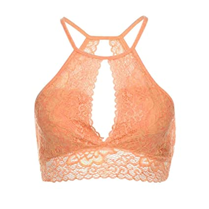Amazon.com  GBSELL Women Summer Floral Lace Halter Sheer Crop Tops ...