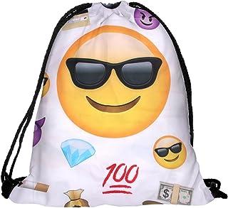 Sacca sportiva a tracolla per l'allenamento, ma non solo. Ultra leggero lifestyle viaggio borsa borsetta palestra zaino a spalla trend sport per uomini donne ragazzi ragazze bambini, RU-36a nero Emoticon Chill Alsino