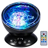 Delaman Ocean Projector Lamp Music Player Colorful LED Night Light with Remote Control Gift for Kid (Black)