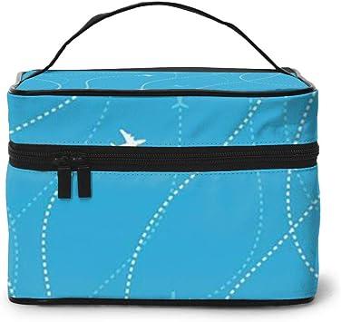 Maquillaje Bolsa Vuelo Azul Avión de Viaje Destinos de Viaje Estuche de Maquillaje Gran Viaje Bolsa de cosméticos Bolsa de Lavado: Amazon.es: Equipaje