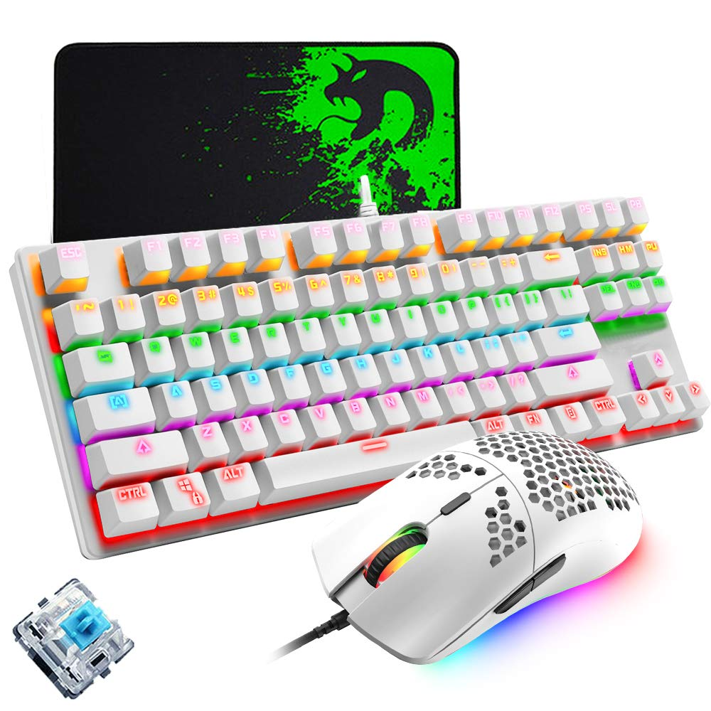 Computer Mechanical Gaming Keyboard and Mouse Set, Programmable 6400DPI Ultra-Light Honeycomb Coal Game Mouse & Mice Pad, Blue Switch Wired RGB 87 Keys PC LED White Keyboard Compatible With PS4 Xbox